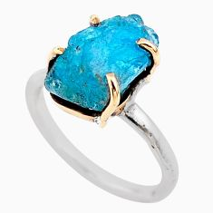 6.24cts natural blue apatite raw 925 silver 14k gold handmade ring size 6 t47120
