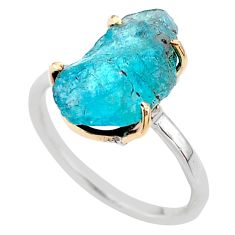 7.22cts natural blue apatite raw 925 silver 14k gold ring size 9 t47118
