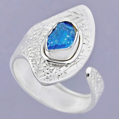 3.13cts natural blue apatite rough 925 silver adjustable ring size 8.5 r54913