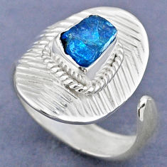 3.13cts natural blue apatite rough 925 silver adjustable ring size 7.5 r63336