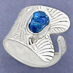 2.81cts natural blue apatite rough 925 silver adjustable ring size 8.5 r63349