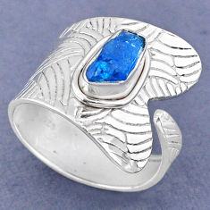 3.83cts natural blue apatite rough 925 silver adjustable ring size 8.5 r63358