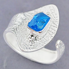2.77ct natural blue raw apatite raw 925 silver adjustable ring size 7.5 r90525