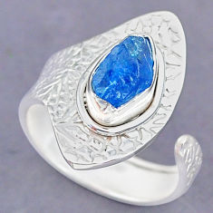 2.78cts natural blue apatite raw 925 silver adjustable ring size 7.5 r90529