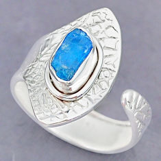 2.56cts natural blue apatite raw 925 silver adjustable ring size 8.5 r90532