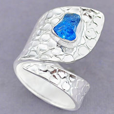 2.54cts natural blue apatite raw 925 silver adjustable ring size 8.5 r90576