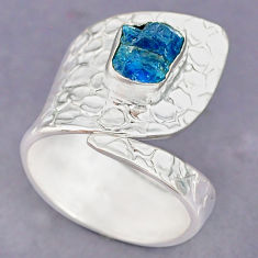 3.28cts natural blue apatite raw 925 silver adjustable ring size 10 r90551
