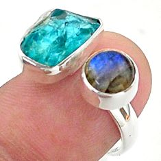 10.02cts natural blue apatite raw 925 silver adjustable ring size 7 t38127