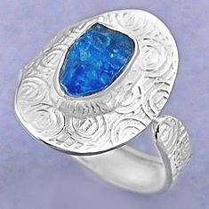 4.26cts natural blue apatite rough 925 silver adjustable ring size 8 r54717