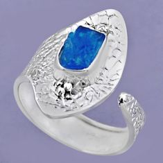 3.17cts natural blue apatite rough 925 silver adjustable ring size 8 r54722