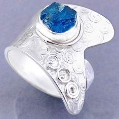 3.00cts natural blue apatite rough 925 silver adjustable ring size 8 r54757