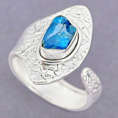 2.93cts natural blue apatite raw 925 silver adjustable ring size 8 r90550