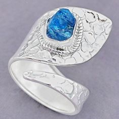 3.40cts natural blue apatite rough 925 silver adjustable ring size 8 r90604