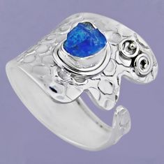 2.55cts natural blue apatite rough 925 silver adjustable ring size 9 r54876
