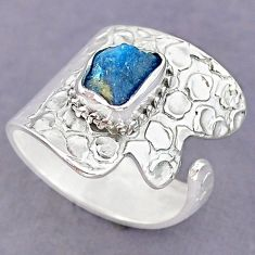3.12cts natural blue apatite rough 925 silver adjustable ring size 9 r90588