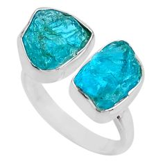 10.78cts natural blue apatite rough 925 silver adjustable ring size 7.5 t36720