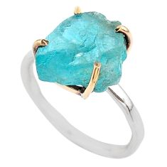 6.83cts natural blue apatite raw fancy 925 silver 14k gold ring size 8 t47117