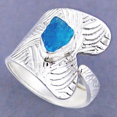 2.71cts natural blue apatite rough fancy silver adjustable ring size 9 r54814