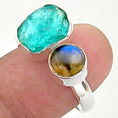 11.23cts natural blue apatite raw labradorite 925 silver ring size 8 t38129