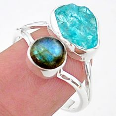8.77cts natural blue apatite raw labradorite 925 silver ring size 9 t38081