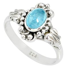 1.48cts natural blue aquamarine 925 silver solitaire handmade ring size 5 r82286
