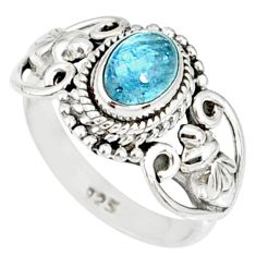 1.50cts natural blue aquamarine 925 silver solitaire handmade ring size 5 r82292