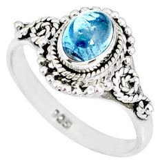 1.44cts natural blue aquamarine 925 silver solitaire handmade ring size 5 r82299