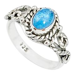 1.44cts natural blue aquamarine 925 silver solitaire handmade ring size 5 r82300