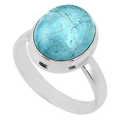 5.06cts natural blue aquamarine 925 silver solitaire ring jewelry size 6 r64632