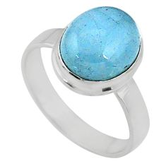 4.52cts natural blue aquamarine 925 silver solitaire ring jewelry size 6 r64650