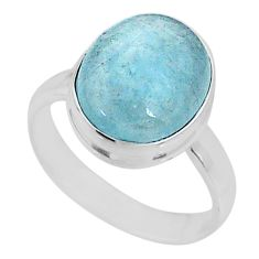 4.71cts natural blue aquamarine 925 silver solitaire ring jewelry size 6 r64669