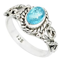 1.47cts natural blue aquamarine 925 silver solitaire handmade ring size 6 r82281