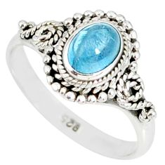 1.55cts natural blue aquamarine 925 silver solitaire handmade ring size 6 r82283