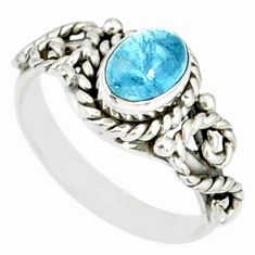 1.53cts natural blue aquamarine 925 silver solitaire handmade ring size 6 r82288