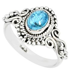1.48cts natural blue aquamarine 925 silver solitaire handmade ring size 6 r82295