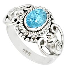 1.56cts natural blue aquamarine 925 silver solitaire ring jewelry size 6 r82359