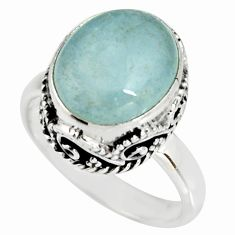 5.01cts natural blue aquamarine 925 silver solitaire ring jewelry size 7 r19260