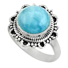 5.14cts natural blue aquamarine 925 silver solitaire ring jewelry size 7 r52634