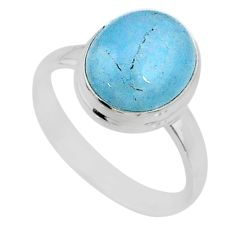 4.71cts natural blue aquamarine 925 silver solitaire ring jewelry size 7 r64641