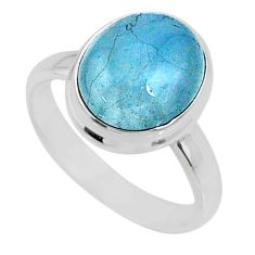 4.71cts natural blue aquamarine 925 silver solitaire ring jewelry size 7 r64655