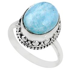 4.92cts natural blue aquamarine 925 silver solitaire ring jewelry size 7 r64687