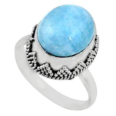 4.86cts natural blue aquamarine 925 silver solitaire ring jewelry size 7 r64688