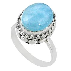 5.15cts natural blue aquamarine 925 silver solitaire ring jewelry size 7 r64705