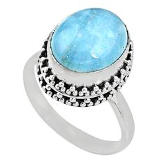 5.16cts natural blue aquamarine 925 silver solitaire ring jewelry size 7 r64706