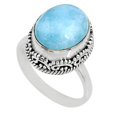 5.07cts natural blue aquamarine 925 silver solitaire ring jewelry size 7 r64720