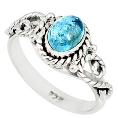 1.57cts natural blue aquamarine 925 silver solitaire handmade ring size 7 r82291