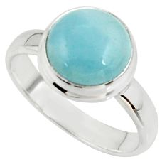 5.24cts natural blue aquamarine 925 silver solitaire ring jewelry size 8 r39781