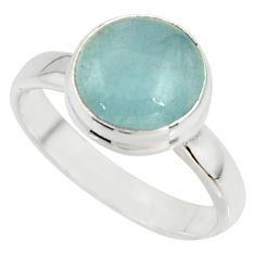5.80cts natural blue aquamarine 925 silver solitaire ring jewelry size 8 r39786