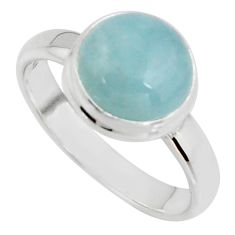 5.06cts natural blue aquamarine 925 silver solitaire ring jewelry size 8 r39792