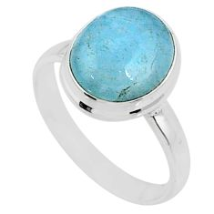 5.03cts natural blue aquamarine 925 silver solitaire ring jewelry size 8 r64621